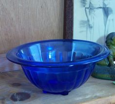 Cobalt Blue Depression Glass Mixing Bowl by Hazel Atlas