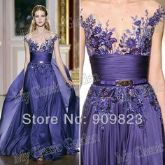 Arab V Neck Embroidery Lace Beaded Cap Sleeves Short Sleeves A Line Full Length Formal Zuhair Murad Evening Dresses Gowns-in Evening Dresses from Apparel & Accessories on Aliexpress.com