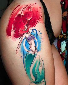 Watercolor Mermaid Tattoo, Watercolor Tattoo Artists, Tattoo Mermaid, Sketch Tattoo Design, Tattoo Designs, Bioshock Tattoo, Little Mermaid Tattoos, Colored Tattoo Design, Disney Sleeve Tattoos