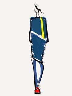 Steven Tai Fall 2013; Illustration by Danielle Meder Croquis Fashion, Fashion Sketches, Fashion Illustrations, Fashion Drawings, Illustration Example, Illustration Girl, Digital Illustration, Fashion Collage, Fashion Art