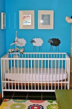 Maybe these sheep help baby sleep better!  #turquoise #nursery #sheep #wallart