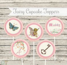 GARDEN Butterfly Fairy Party Circles Garden Vintage Pink Theme Girl Cupcake Toppers Birthday Printable Package