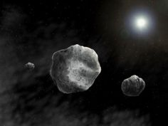 Artistic impression of the triple asteroid (93) Minerva with its two moons (credit: D. Futselaar/SETI Institute)