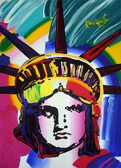 I'm only repinning this because I think it's awesome I actually got to see this in real life. Peter Max #Statue of Liberty #Color