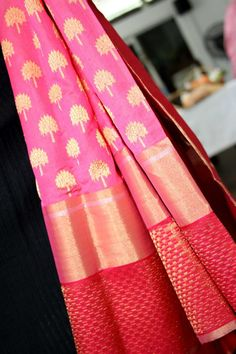 Pink and red chanderi saree with tree of life zari motifs all over...... by Coloroso