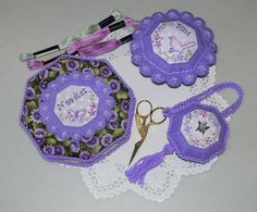 Lilac Love Sewing Set (needle case, pincushion and scissor keep) by Val Laird sewing pattern $15.00 on Val Laird at http://val-laird.blogspot.com.au/p/pincushions-and-needle-cases.html