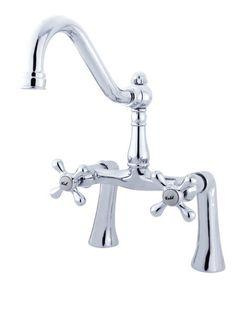 Double Handle Deck Mount Clawfoot Tub Faucet Trim Metal Cross Handle