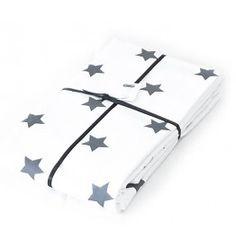 CarlijnQ ledikantdeken wit met sterren grijs