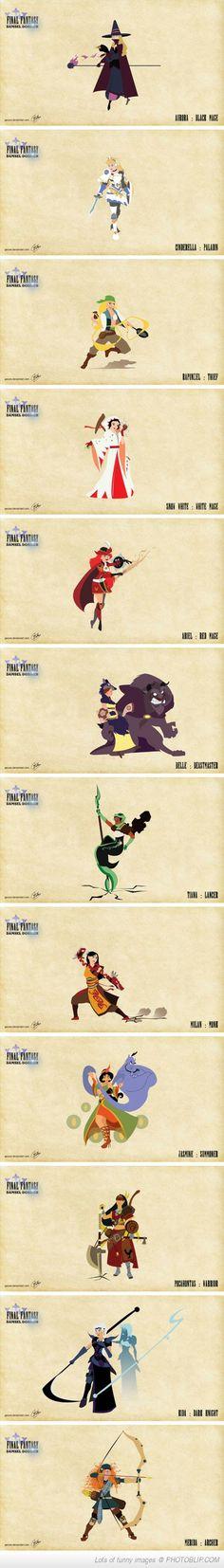 Disney Princesses As Final Fantasy Characters