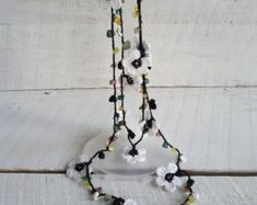 Daisy Flower garland lariat beaded scarf Natural stone necklace Women fashion neck beaded accessories Mother day gift