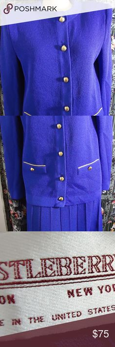 """LN Vtg Royal Blue Castleberry London Knit 2 Pc Set fr oh Label: castleberry Size: not seen Measurements: Underarms:40 """"  Waist: 38""""  Hips: 38""""  Shoulders across: 17.5""""  to wrist or end of sleeve:24.2 """" Shoulder to Hem: front:25 under collar in back to hem:  24"""" ' Skirt waist:33-38 hips:56 waist to hem: 28.5 Fake front pockets on the front of the jacket. It has gold toned shell buttons and a hidden snap under the top button. Condition/Comments: this is unworn but has been tried on. It has…"""