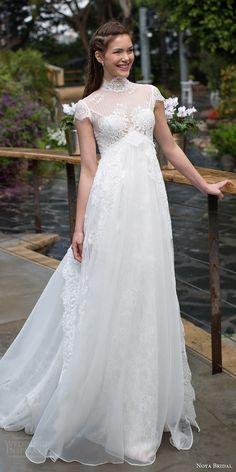 noya bridal 2016 cap sleeves illusion high neckline aline empire waist wedding dress (1203) mv romantic