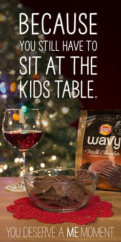 """We've all been there: sitting at the kids table when you're clearly not in grade school anymore. Cheers to heading home for the holidays. Take a """"me moment"""" with Lay's Wavy chips!"""
