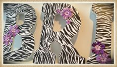 Zebra Nursery or Bedroom wall letters. Flowers. Pink. Animal print. Girls or Teen Room. Custom.