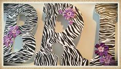Zebra Nursery or Bedroom wall letters. Flowers. Pink. Animal print. Girls or Teen Room. Custom.