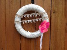 Happy birthday yarn wreath