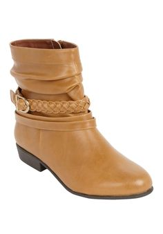 """Our leather-like scrunch bootie is stylish, comfortable and pairs fabulously with jeans or leggings. We carry this shoe in wide and wide wide widths.  decorative braided strap and buckle almond toe full inside zipper 5 1/2"""" shaft comfort padding: padded insoles offer extra cushioning at heel and toe bed comfort grip: flexible, skid-resistant soles are designed for better traction comfort width: our extended sizes provide a perfect width in medium, wide and wide wide comfort heel: the ..."""