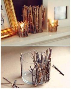 DIY twig candle votives #weddings #rusticwedding #diy