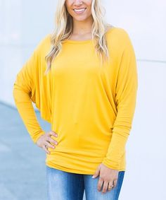 Look at this #zulilyfind! Mustard Dolman-Sleeve Top - Plus Too #zulilyfinds