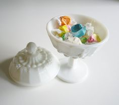 Vintage Milk Glass Candy Dish - Compote with Cover - Paneled Grape Westmoreland Glass - Wedding Bridal Registry via Etsy
