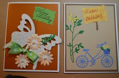 2015 birthday cards using Sizzix die cuts for butterfly and Spellbinders for others.