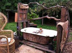 Outdoor bathroom (minus the giant wicker throne)