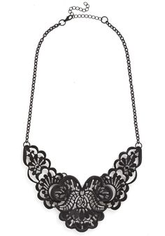 Photogenic Fretwork Necklace. Even when you feel camera-shy, youll experience picture-perfection when you sport this filigree-style statement necklace! #black #modcloth