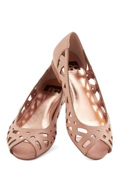 Discover Your Pastel Flat in Rose by BC Footwear - Flat, Faux Leather, Pink, Solid, Cutout, Daytime Party, Better, Peep Toe, Variation, Casu...