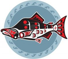 Fish - Salmon - In Native American Style Stock Photo - 12826130