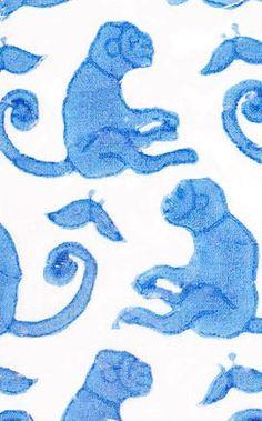FABRIC BY THE YARD TAJ MONKEY BLUE - Rikshaw Design - 1