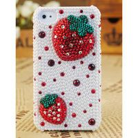 Apple iPhone4 3GS Pearl Crystals Strawberry Cover