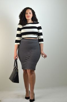 Go ultra trendy in all over stripes, with a high waisted, striped pencil skirt and striped crop top.