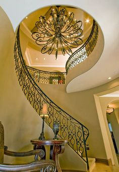 Entry - Traditional - Entryway and Hallway - Images by Beth Whitlinger Interior Design Spiral Staircase Dimensions, Spiral Staircase Kits, Staircase Railings, Grand Staircase, Staircase Design, Staircases, Stairs, Chandelier Staircase, House Design Photos