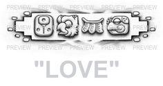 LOVE Mayan Glyphs Tattoo Design C » ₪ AZTEC TATTOOS ₪ Aztec Mayan Inca Tattoo Designs Instant Download