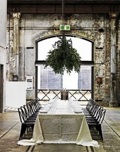 We could even get some cheap unbleached muslin fabric and wash it to get a certain level of wrinkles......      Industrial Warehouse Wedding Space