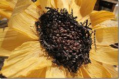 Corn husk sunflower with coffee bean center - DIY
