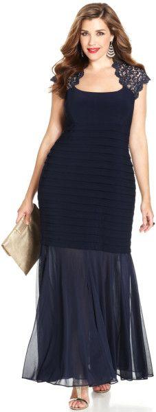 Plus Size Glitterlace Mermaid Gown