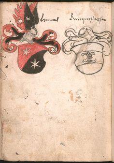 Wernigeroder (Schaffhausensches) Wappenbuch Süddeutschland, 4. Viertel 15. Jh. Cod.icon. 308 n  Folio 212v