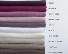 Softened Linen Fabric By Meter And By Yard Stonewashed Linen Blue Amber, Colour Pallete, Color Palettes, Oeko Tex 100, Linen Tablecloth, Natural Linen, Linen Fabric, Linen Bedding, Dusty Rose
