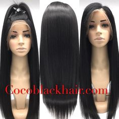 Bess- Brazilian virgin Yaki straight Full lace silk top wig 100% Brazilian virgin Human hair tangle free. Glueless Full Lace wig with 4x4 inches Silk Top.The Silk top can give you very Natural looking like the hair is growing from your scalp. Yaki straight texture mimic African american hair texture you can wet set this hair on rollers for a wavy looking. Baby hair and bleached knots in perimeter very natural looking.#cocoblackhair #yaki #yakistraight #silktop #hair #wig #naturalhair Coco…