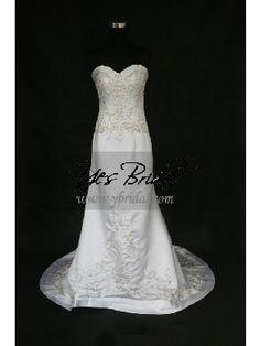 Sheath Sweetheart Chapel Train Satin Embroidery Net Wedding Dress WSC02183ML