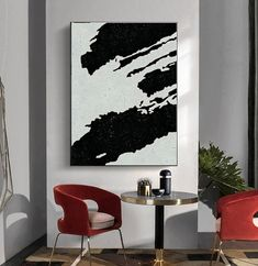 Modern Office Decor, Home Office Decor, Minimalist Painting, Minimalist Art, Rooms Home Decor, Home Decor Wall Art, Black And White Abstract, Black White, White Art