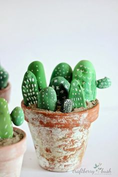 DIY Painting Cactus Rock Art Ideas - Balcony Decoration Ideas in Every Unique Detail Painted Rock Cactus, Painted Rocks Kids, Rock Painting Ideas Easy, Diy Painting, Cactus Painting, Diy Projects To Try, Craft Projects, Rock Crafts, Colorful Decor