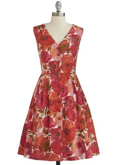 Give it Your Best Guest Dress by Emily and Fin - Floral, Buttons, A-line, Sleeveless, Better, V Neck, Multi, Daytime Party, Cotton, Woven, Long, Pockets