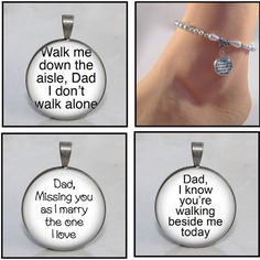 Bride Anklet Dad Remember, Memorial for Wedding Day with charm attached to beautiful beaded anklet, choice of 3 phrases 7 styles/colours