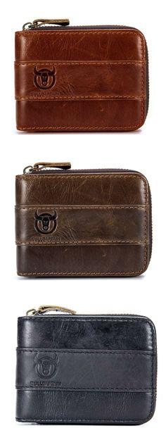 RFID Antimagnetic Vintage Genuine Leather 11 Card Slots Coin Bag Wallet For Men.Shop Today!