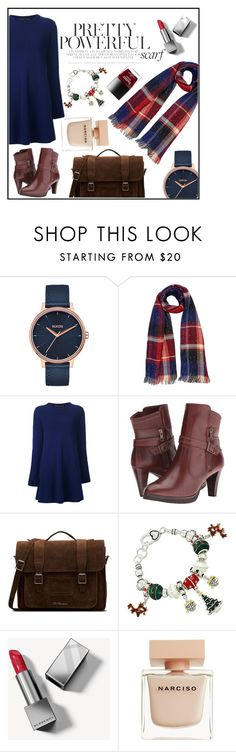 """winter scarf"" by sandra-markovic ❤ liked on Polyvore featuring Nixon, Proenza Schouler, Walking Cradles, Dr. Martens, Burberry, Narciso Rodriguez, Winter and scarf"