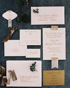 Printed Suite as seen in @Martha Stewart Weddings Magazine Event Design: Easton Events Photography: Jose Villa Stationary: Sideshow Press Calligraphy: Elizabeth Porcher Jones