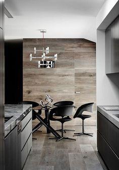 cuisine ouverte sur la salle à manger avec moblier moderne