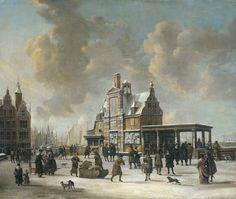 Abraham Beerstraten, The Paalhuis and the Nieuwe Brug, Amsterdam, in the Winter, 1640-66